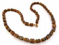 Vintage Murano Glass Scottish Style, Faux Tigers Eye Necklace.